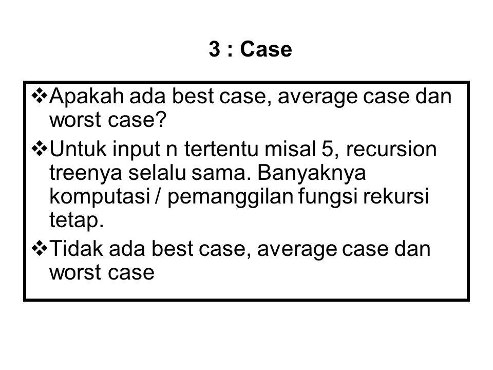  Apakah ada best case, average case dan worst case?  Untuk input n tertentu misal 5, recursion treenya selalu sama. Banyaknya komputasi / pemanggila