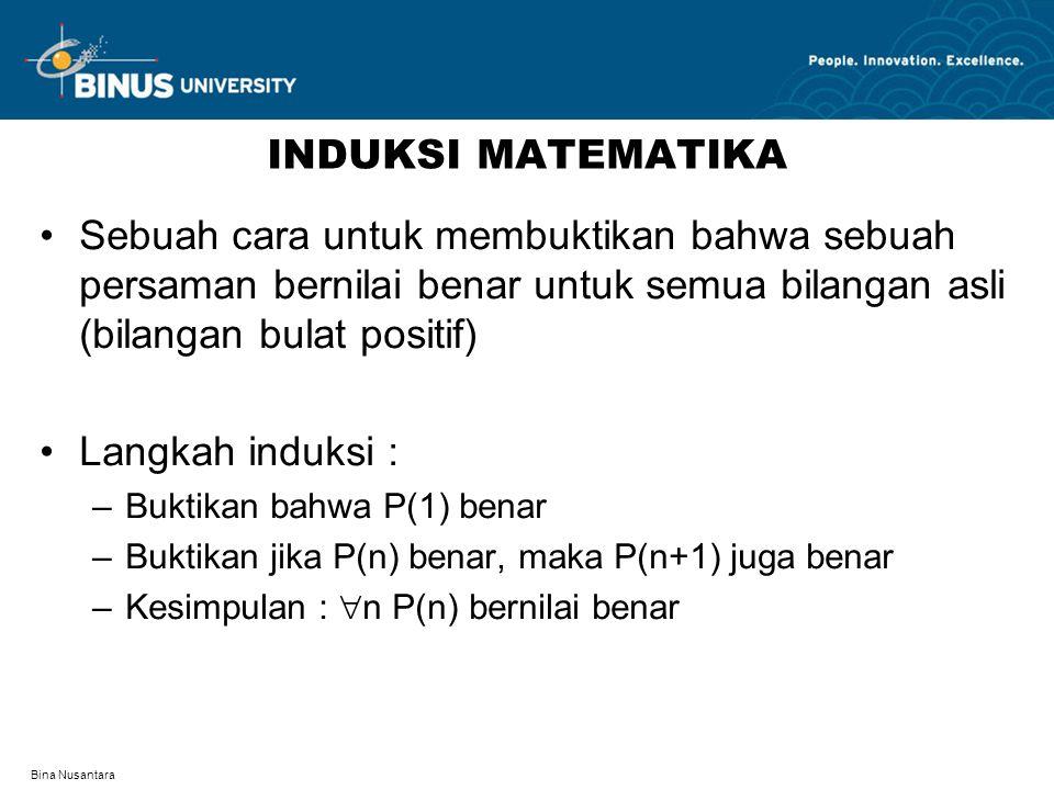 Bina Nusantara INDUKSI MATEMATIKA Sebuah cara untuk membuktikan bahwa sebuah persaman bernilai benar untuk semua bilangan asli (bilangan bulat positif