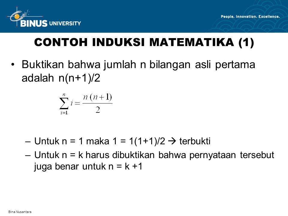 Bina Nusantara CONTOH INDUKSI MATEMATIKA (1) Buktikan bahwa jumlah n bilangan asli pertama adalah n(n+1)/2 –Untuk n = 1 maka 1 = 1(1+1)/2  terbukti –
