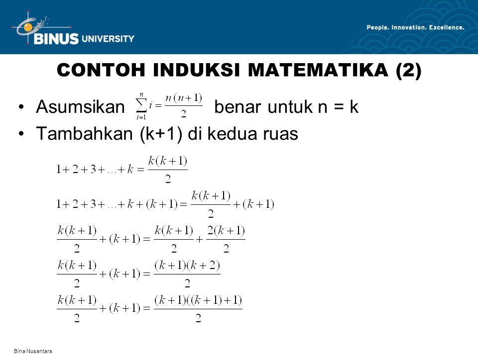 Bina Nusantara CONTOH INDUKSI MATEMATIKA (2) Asumsikan benar untuk n = k Tambahkan (k+1) di kedua ruas