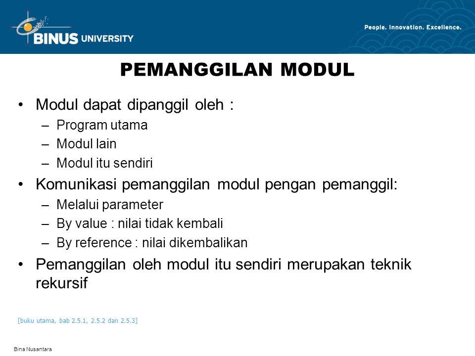 Bina Nusantara PEMANGGILAN MODUL Modul dapat dipanggil oleh : –Program utama –Modul lain –Modul itu sendiri Komunikasi pemanggilan modul pengan pemang