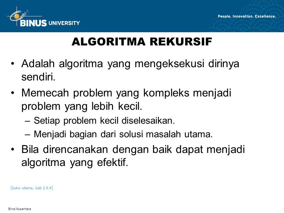 Bina Nusantara ALGORITMA REKURSIF Adalah algoritma yang mengeksekusi dirinya sendiri. Memecah problem yang kompleks menjadi problem yang lebih kecil.