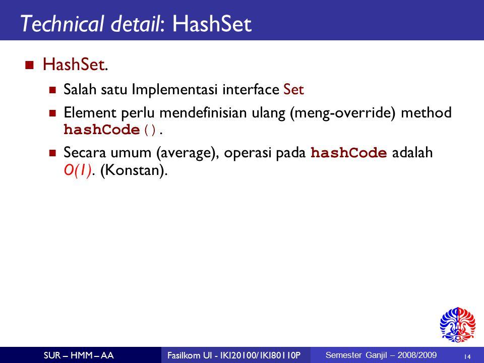 14 SUR – HMM – AAFasilkom UI - IKI20100/ IKI80110P Semester Ganjil – 2008/2009 Technical detail: HashSet HashSet.