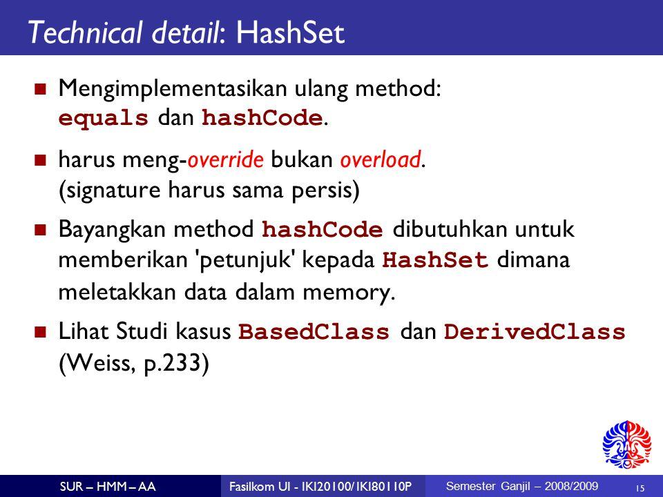 15 SUR – HMM – AAFasilkom UI - IKI20100/ IKI80110P Semester Ganjil – 2008/2009 Technical detail: HashSet Mengimplementasikan ulang method: equals dan hashCode.