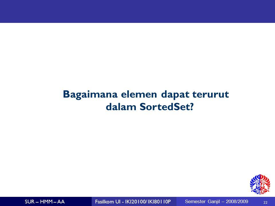 22 SUR – HMM – AAFasilkom UI - IKI20100/ IKI80110P Semester Ganjil – 2008/2009 Bagaimana elemen dapat terurut dalam SortedSet