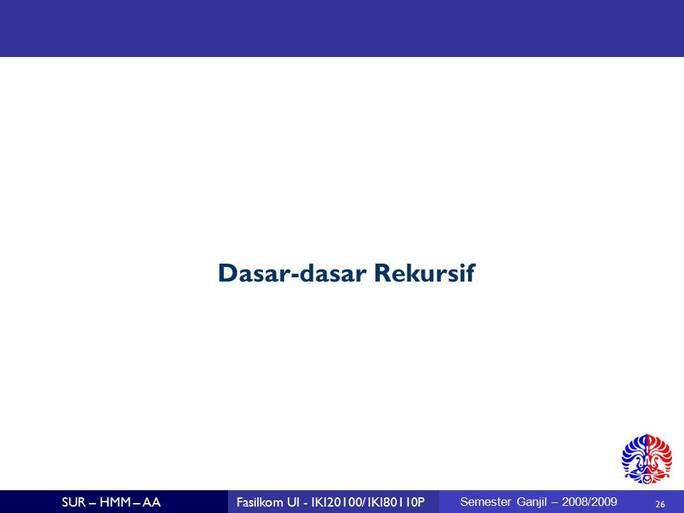 26 SUR – HMM – AAFasilkom UI - IKI20100/ IKI80110P Semester Ganjil – 2008/2009 Dasar-dasar Rekursif