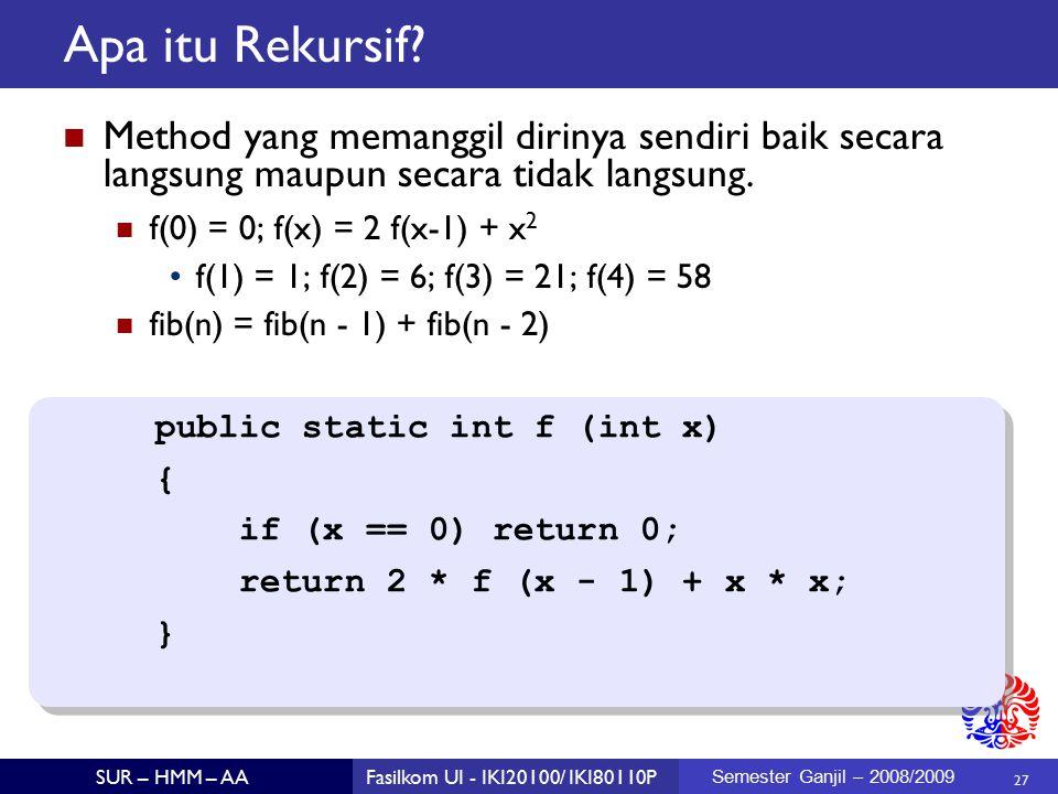 27 SUR – HMM – AAFasilkom UI - IKI20100/ IKI80110P Semester Ganjil – 2008/2009 Apa itu Rekursif.