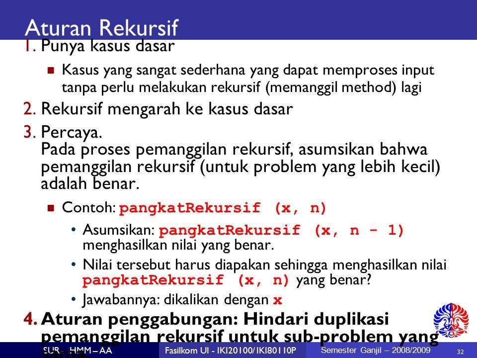 32 SUR – HMM – AAFasilkom UI - IKI20100/ IKI80110P Semester Ganjil – 2008/2009 Aturan Rekursif 1.Punya kasus dasar Kasus yang sangat sederhana yang dapat memproses input tanpa perlu melakukan rekursif (memanggil method) lagi 2.Rekursif mengarah ke kasus dasar 3.Percaya.