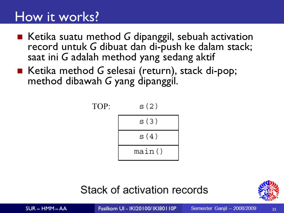 35 SUR – HMM – AAFasilkom UI - IKI20100/ IKI80110P Semester Ganjil – 2008/2009 How it works? Ketika suatu method G dipanggil, sebuah activation record