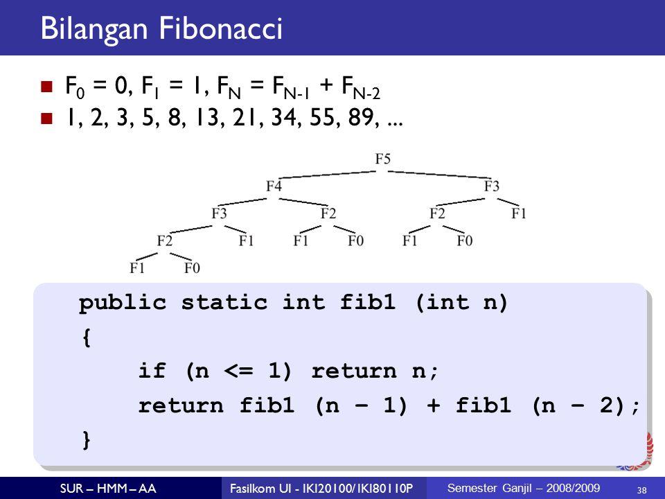 38 SUR – HMM – AAFasilkom UI - IKI20100/ IKI80110P Semester Ganjil – 2008/2009 Bilangan Fibonacci F 0 = 0, F 1 = 1, F N = F N-1 + F N-2 1, 2, 3, 5, 8, 13, 21, 34, 55, 89,...