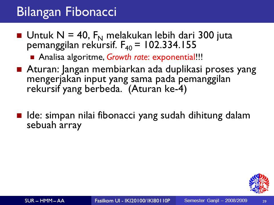 39 SUR – HMM – AAFasilkom UI - IKI20100/ IKI80110P Semester Ganjil – 2008/2009 Bilangan Fibonacci Untuk N = 40, F N melakukan lebih dari 300 juta pemanggilan rekursif.