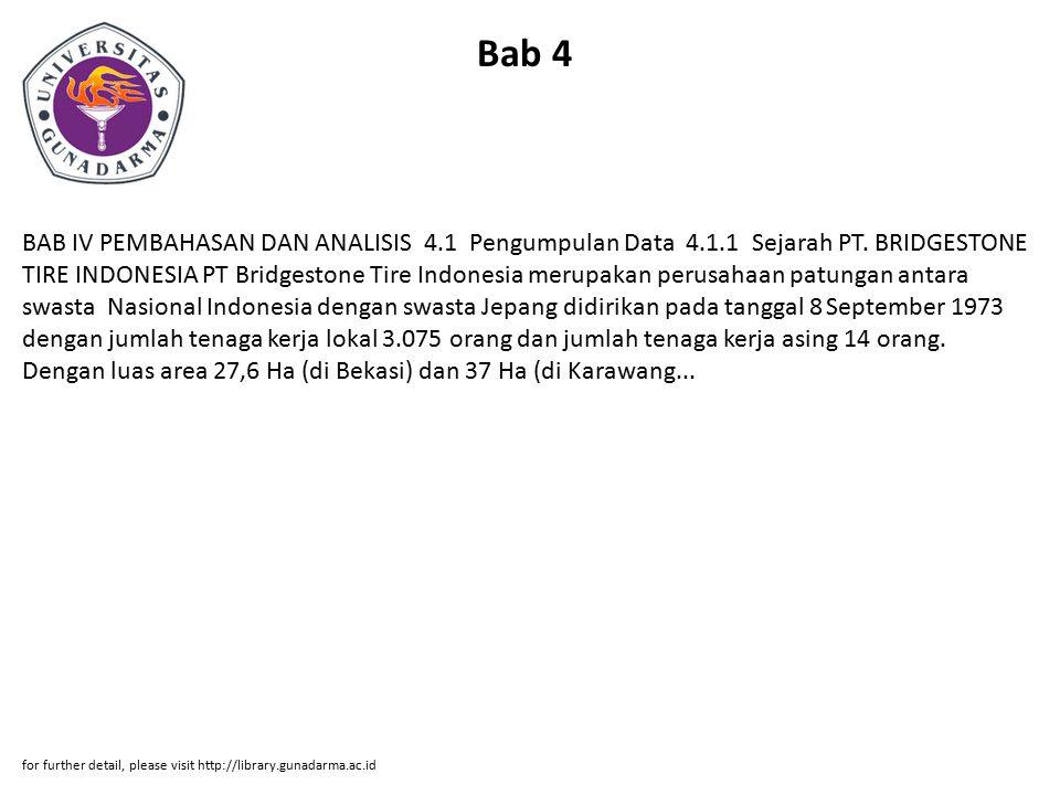 Bab 4 BAB IV PEMBAHASAN DAN ANALISIS 4.1 Pengumpulan Data 4.1.1 Sejarah PT. BRIDGESTONE TIRE INDONESIA PT Bridgestone Tire Indonesia merupakan perusah