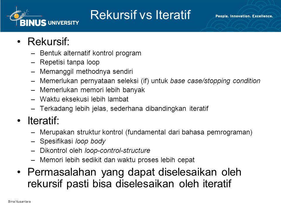 Bina Nusantara Rekursif vs Iteratif Rekursif: –Bentuk alternatif kontrol program –Repetisi tanpa loop –Memanggil methodnya sendiri –Memerlukan pernyat