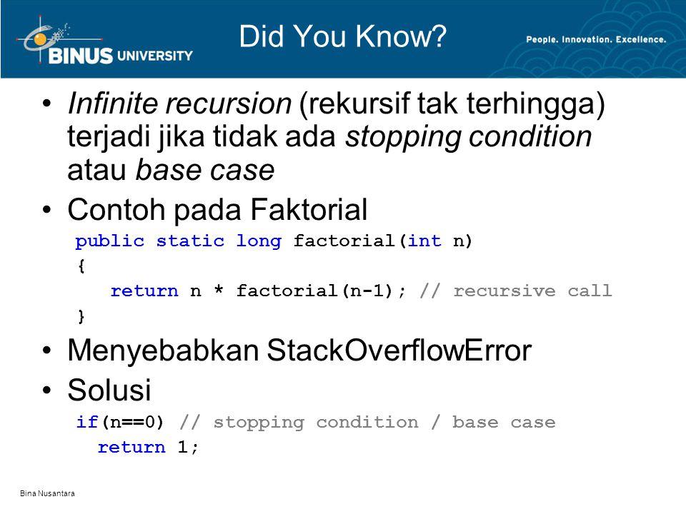 Bina Nusantara Did You Know? Infinite recursion (rekursif tak terhingga) terjadi jika tidak ada stopping condition atau base case Contoh pada Faktoria