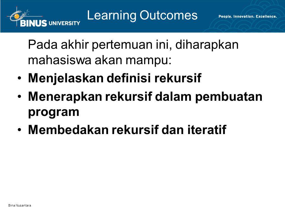 Bina Nusantara Learning Outcomes Pada akhir pertemuan ini, diharapkan mahasiswa akan mampu: Menjelaskan definisi rekursif Menerapkan rekursif dalam pe