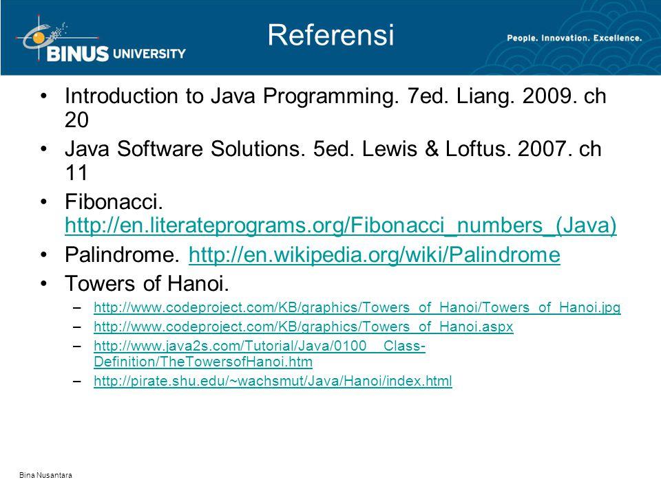 Bina Nusantara Referensi Introduction to Java Programming. 7ed. Liang. 2009. ch 20 Java Software Solutions. 5ed. Lewis & Loftus. 2007. ch 11 Fibonacci
