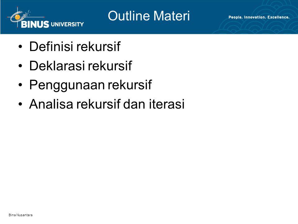 Bina Nusantara Definisi Rekursif Method yang memanggil dirinya sendiri Berguna untuk teknik pemrograman Lebih memudahkan pemecahan masalah tertentu Contoh: Faktorial 0.
