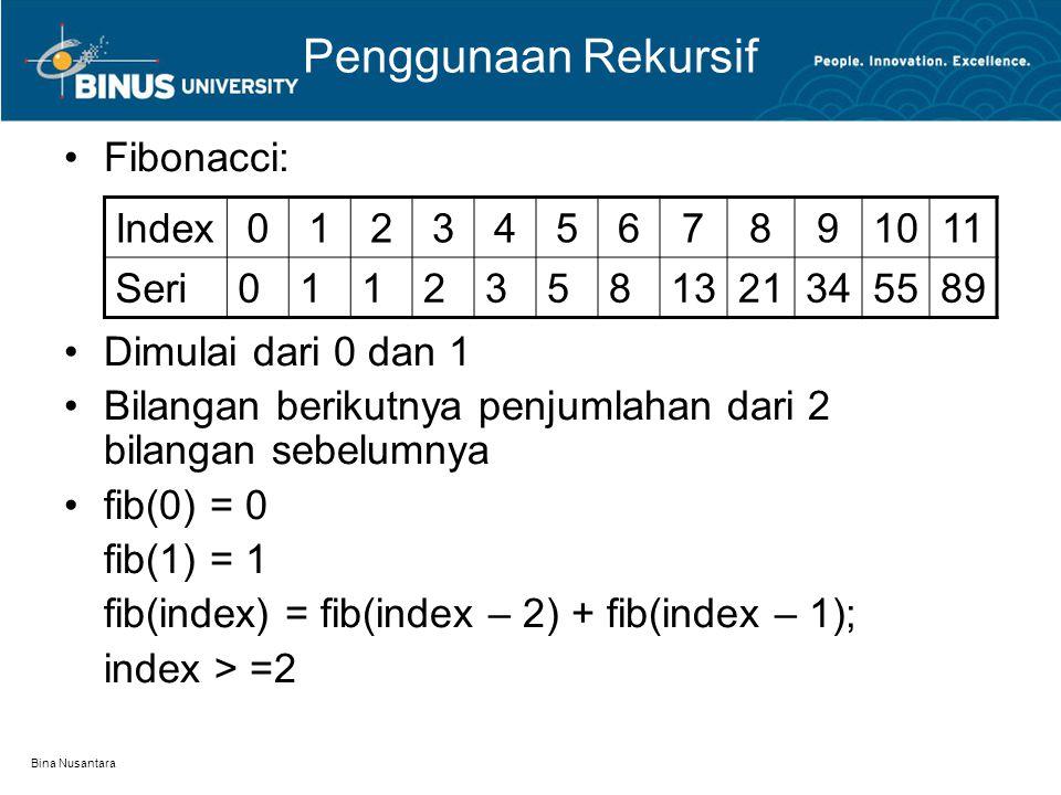 Bina Nusantara Penggunaan Rekursif Fibonacci: Dimulai dari 0 dan 1 Bilangan berikutnya penjumlahan dari 2 bilangan sebelumnya fib(0) = 0 fib(1) = 1 fi