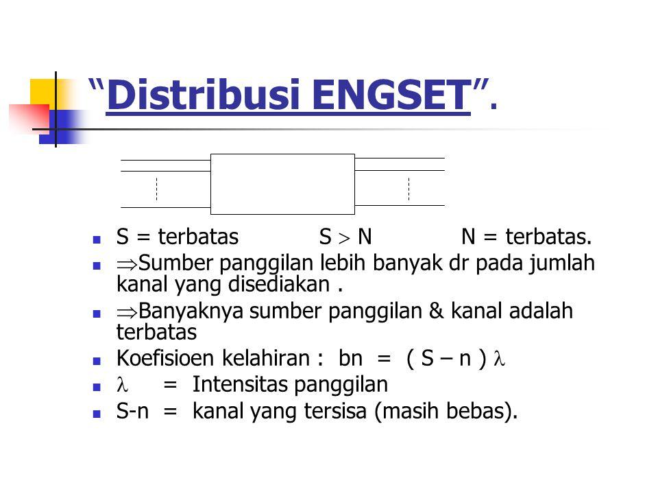 """""""Distribusi ENGSET"""". S = terbatas S  N N = terbatas.  Sumber panggilan lebih banyak dr pada jumlah kanal yang disediakan.  Banyaknya sumber panggil"""