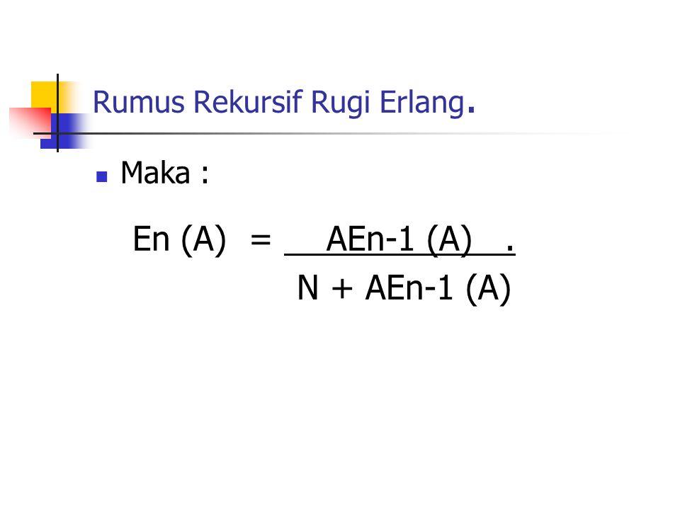 Rumus Rekursif Rugi Erlang. Maka : En (A) = AEn-1 (A). N + AEn-1 (A)