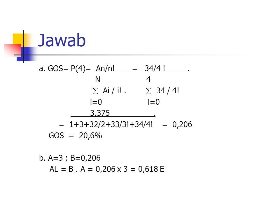 Jawab a. GOS= P(4)= An/n! = 34/4 !. N 4  Ai / i!.  34 / 4! i=0 i=0 3,375. = 1+3+32/2+33/3!+34/4! = 0,206 GOS = 20,6% b. A=3 ; B=0,206 AL = B. A = 0,