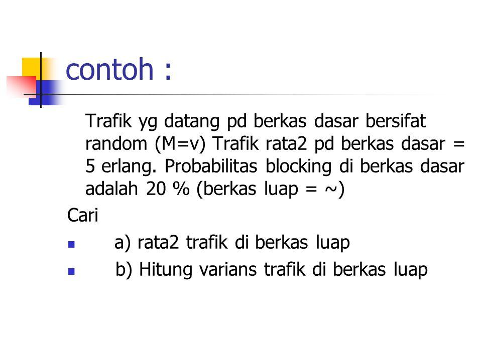 contoh : Trafik yg datang pd berkas dasar bersifat random (M=v) Trafik rata2 pd berkas dasar = 5 erlang. Probabilitas blocking di berkas dasar adalah