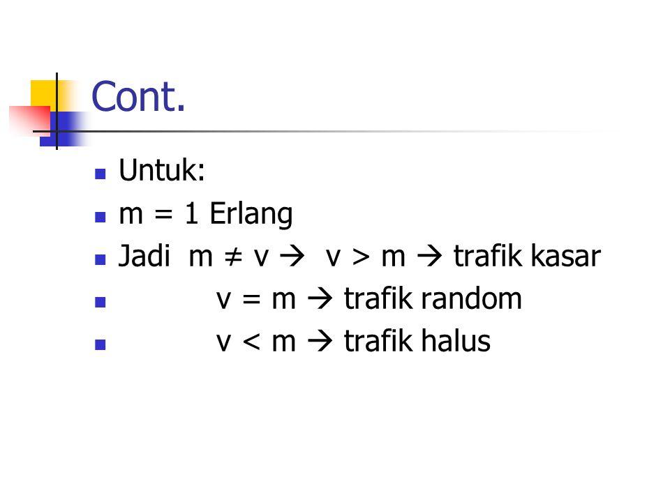 Cont. Untuk: m = 1 Erlang Jadi m ≠ v  v > m  trafik kasar v = m  trafik random v < m  trafik halus