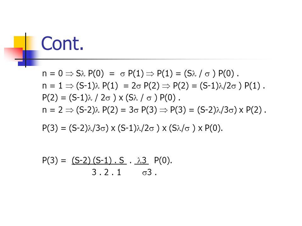 Cont. n = 0  S P(0) =  P(1)  P(1) = (S /  ) P(0). n = 1  (S-1) P(1) = 2  P(2)  P(2) = (S-1) /2  ) P(1). P(2) = (S-1) / 2  ) x (S /  ) P(0).