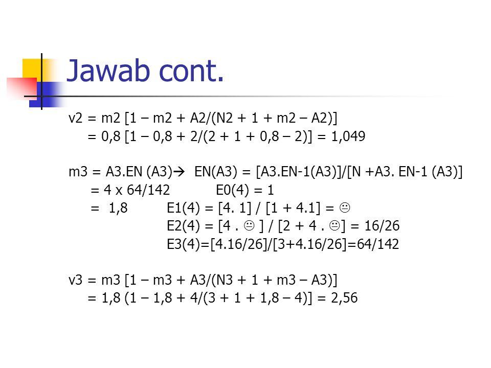 Jawab cont. v2 = m2 [1 – m2 + A2/(N2 + 1 + m2 – A2)] = 0,8 [1 – 0,8 + 2/(2 + 1 + 0,8 – 2)] = 1,049 m3 = A3.EN (A3)  EN(A3) = [A3.EN-1(A3)]/[N +A3. EN