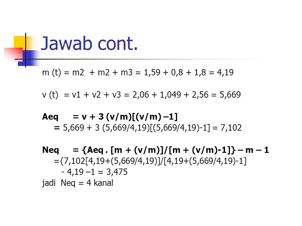 Jawab cont. m (t) = m2 + m2 + m3 = 1,59 + 0,8 + 1,8 = 4,19 v (t) = v1 + v2 + v3 = 2,06 + 1,049 + 2,56 = 5,669 Aeq = v + 3 (v/m)[(v/m) –1] = 5,669 + 3