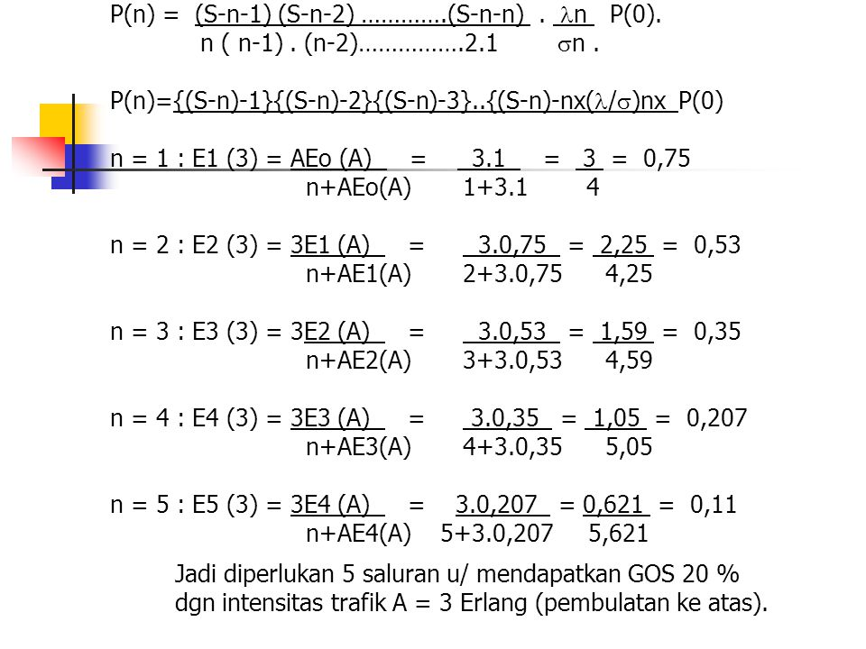 contoh : Trafik yg datang pd berkas dasar bersifat random (M=v) Trafik rata2 pd berkas dasar = 5 erlang.