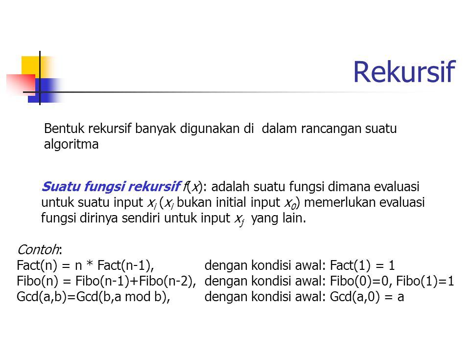 Top-Down dan Bottom-Up Strategi Top-Down dan Bottom-Up pada struktur rekursif Function Fib1(n) recursive Input: n (n  0) Output: Bilangan Fibonacci ke-n if n  1 then return(n) else return(Fib1(n-1) + Fib1(n-2)) endif end Fib1 Function Fib2(n) Input: n (n  0) Output: Bilangan Fibonacci ke-n if n  1 then return(n) else Prev:=0; Curr:=1 for i:=2 to n do Next := Prev + Curr; Prev:=Curr; Curr := Next; endfor endif return(Curr) end Fib2