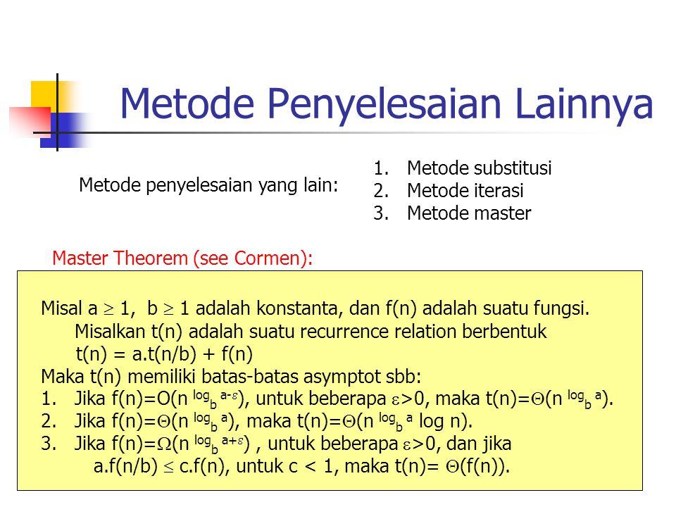 Metode Penyelesaian Lainnya Metode penyelesaian yang lain: 1.Metode substitusi 2.Metode iterasi 3.Metode master Master Theorem (see Cormen): Misal a 
