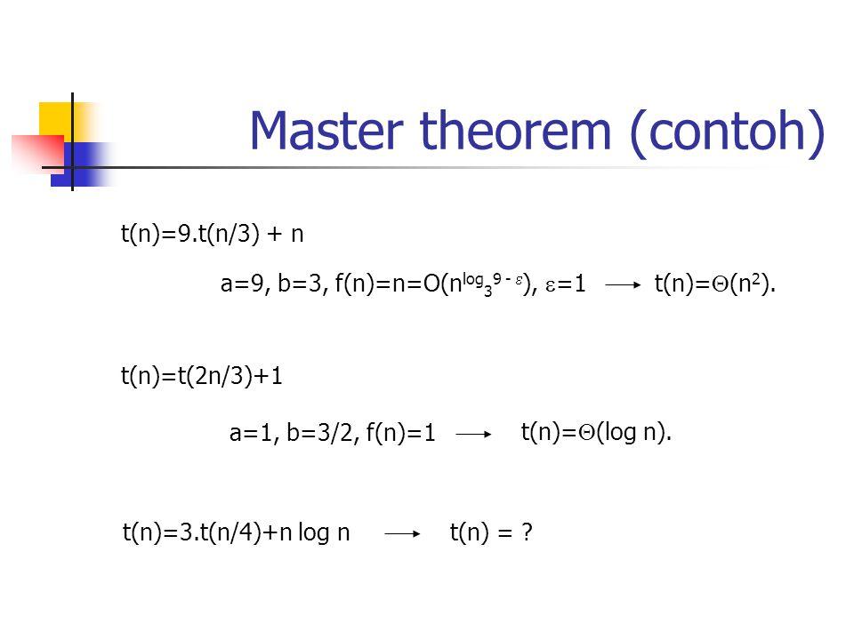 Master theorem (contoh) t(n)=9.t(n/3) + n a=9, b=3, f(n)=n=O(n log 3 9 -  ),  =1t(n)=  (n 2 ). t(n)=t(2n/3)+1 a=1, b=3/2, f(n)=1 t(n)=  (log n). t