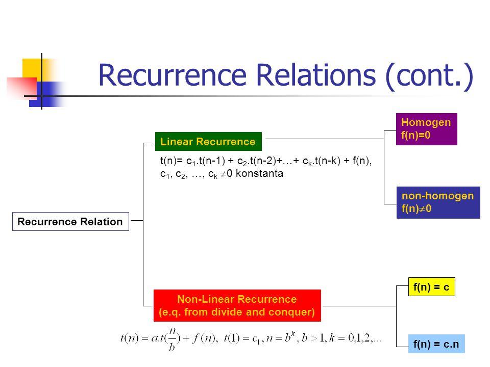 Linear Recurrence First-order : t(n) = c.t(n-1) + f(n), n > 0, c  0 positif konstanta, dan suatu fungsi f(n) tertentu.