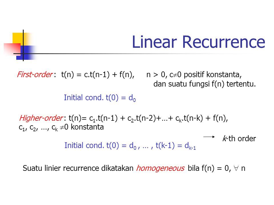 Metode penyelesaian First-order linear homogeneous: t(n) = c.t(n-1), n > 0 dan t(0) = d 0 solution : t(n) = d 0.c n, n  0 Contoh: t(n) = 3.t(n-1), t(0) = 5 Solusi: t(n)= 5.3 n First-order linear nonhomogeneous: t(n) = c.t(n-1) + f(n), n > 0 dan t(0) = d 0 solution : Contoh: W(n) = W(n-1) + (n-1), init.