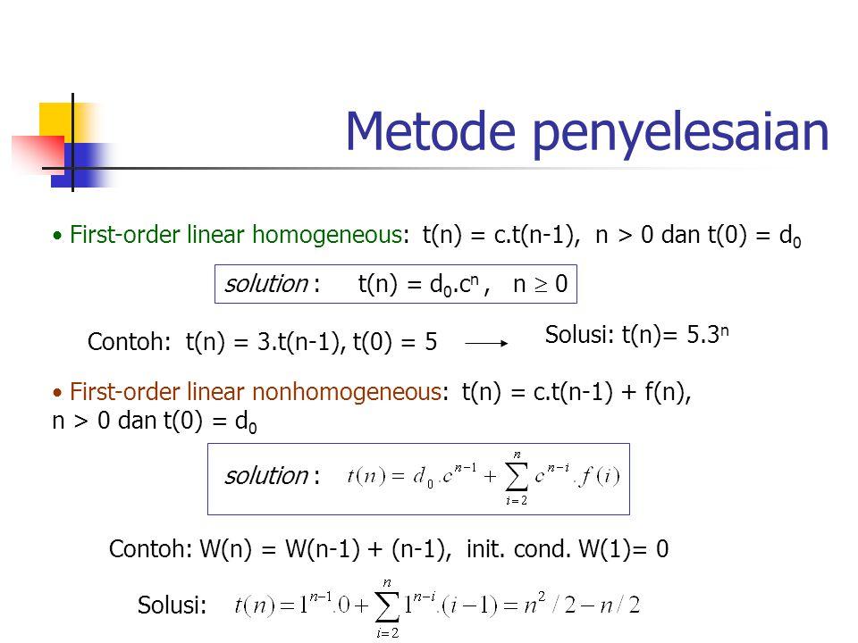 Metode penyelesaian First-order linear homogeneous: t(n) = c.t(n-1), n > 0 dan t(0) = d 0 solution : t(n) = d 0.c n, n  0 Contoh: t(n) = 3.t(n-1), t(
