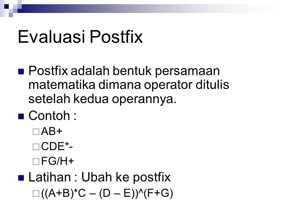 Evaluasi Postfix Postfix adalah bentuk persamaan matematika dimana operator ditulis setelah kedua operannya. Contoh :  AB+  CDE*-  FG/H+ Latihan :
