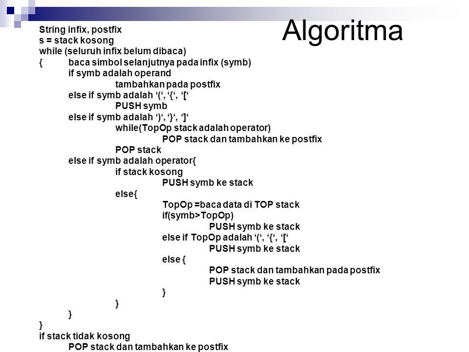 Algoritma String infix, postfix s = stack kosong while (seluruh infix belum dibaca) { baca simbol selanjutnya pada infix (symb) if symb adalah operand