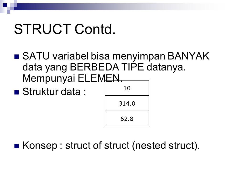 STRUCT Contd. SATU variabel bisa menyimpan BANYAK data yang BERBEDA TIPE datanya. Mempunyai ELEMEN. Struktur data : Konsep : struct of struct (nested