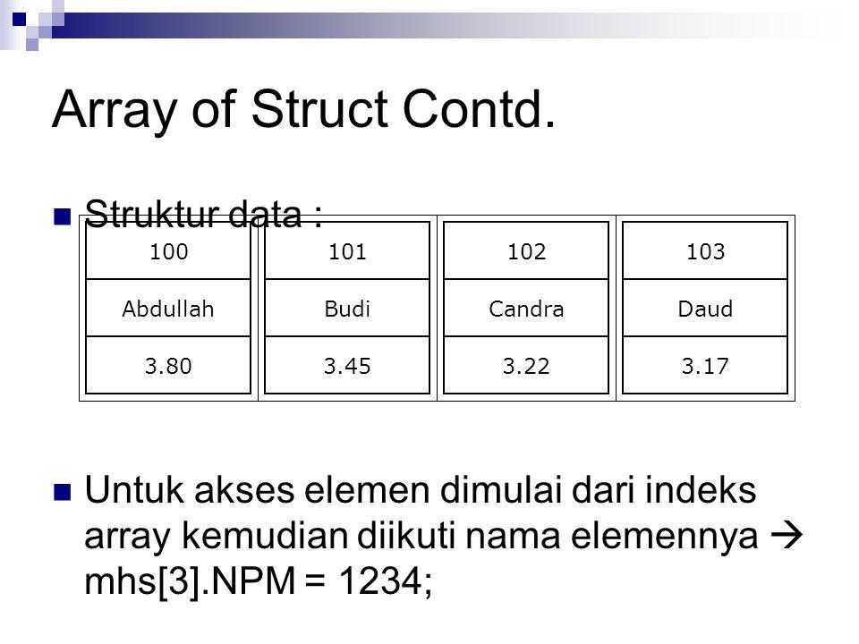 Array of Struct Contd. Struktur data : Untuk akses elemen dimulai dari indeks array kemudian diikuti nama elemennya  mhs[3].NPM = 1234; 100 Abdullah