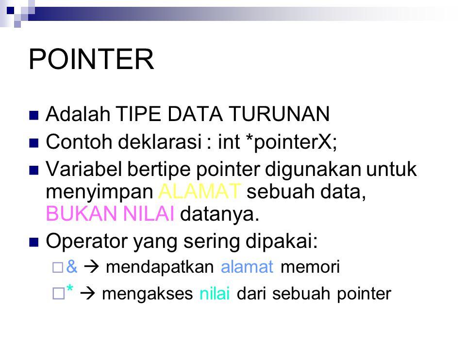 POINTER Adalah TIPE DATA TURUNAN Contoh deklarasi : int *pointerX; Variabel bertipe pointer digunakan untuk menyimpan ALAMAT sebuah data, BUKAN NILAI
