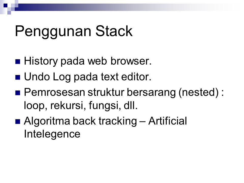 Penggunan Stack History pada web browser. Undo Log pada text editor. Pemrosesan struktur bersarang (nested) : loop, rekursi, fungsi, dll. Algoritma ba