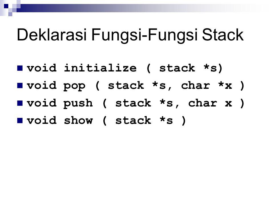 Deklarasi Fungsi-Fungsi Stack void initialize ( stack *s) void pop ( stack *s, char *x ) void push ( stack *s, char x ) void show ( stack *s )