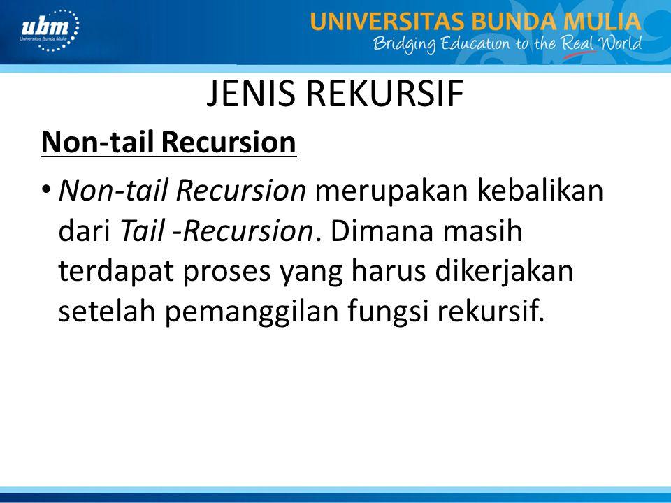 JENIS REKURSIF Non-tail Recursion Non-tail Recursion merupakan kebalikan dari Tail -Recursion. Dimana masih terdapat proses yang harus dikerjakan sete