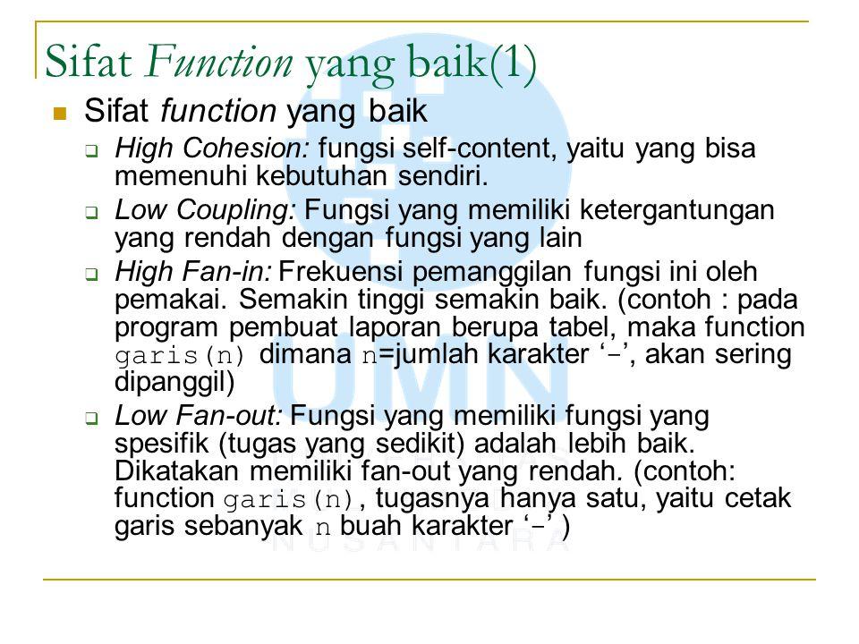 Sifat Function yang baik(1) Sifat function yang baik  High Cohesion: fungsi self-content, yaitu yang bisa memenuhi kebutuhan sendiri.  Low Coupling: