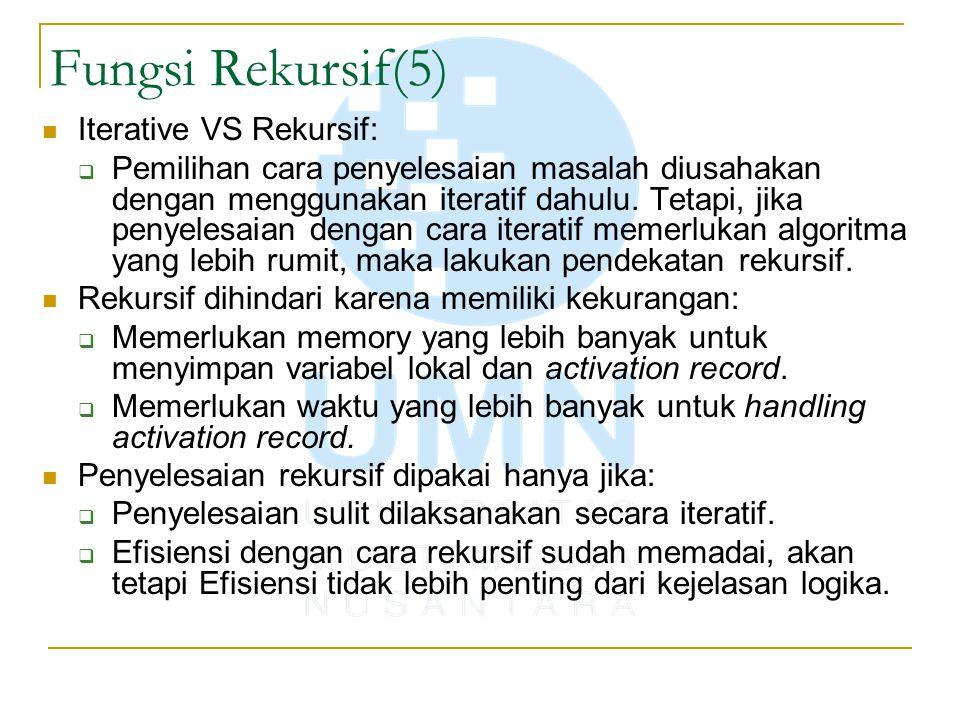 Fungsi Rekursif(5) Iterative VS Rekursif:  Pemilihan cara penyelesaian masalah diusahakan dengan menggunakan iteratif dahulu. Tetapi, jika penyelesai