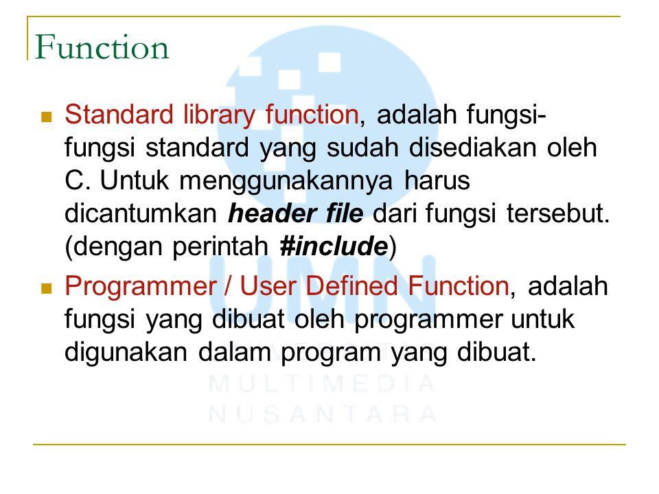 Function Standard library function, adalah fungsi- fungsi standard yang sudah disediakan oleh C. Untuk menggunakannya harus dicantumkan header file da