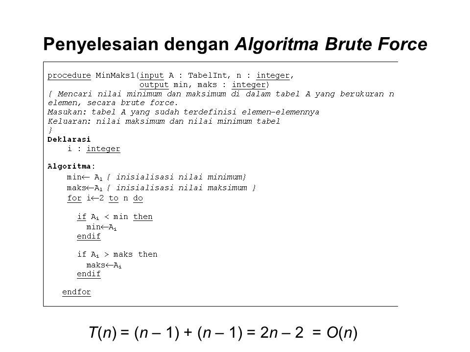 Penyelesaian dengan Algoritma Brute Force T(n) = (n – 1) + (n – 1) = 2n – 2 = O(n)