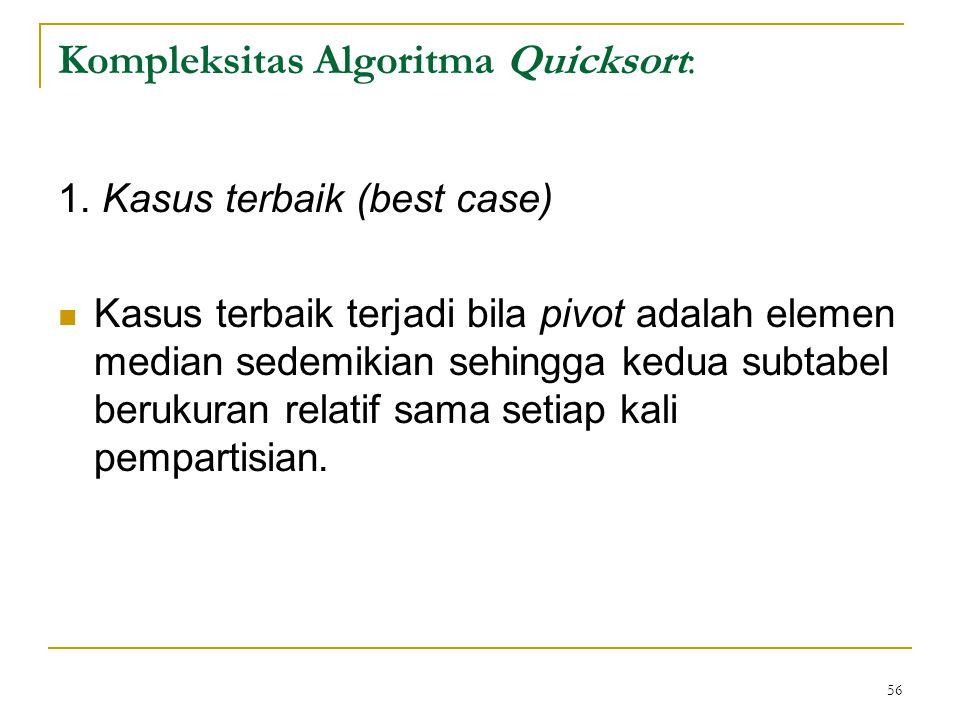 56 Kompleksitas Algoritma Quicksort: 1.